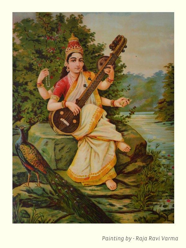 Goddess Sarasvati playing veena