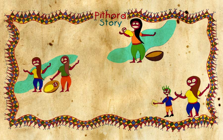 Tribal Story Pithora painting Gujarat