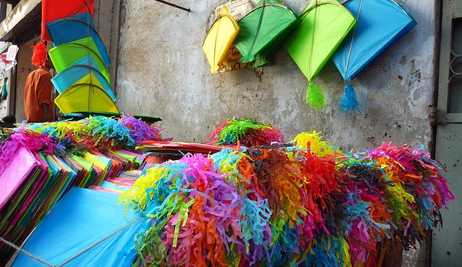 Colorful kites in shops