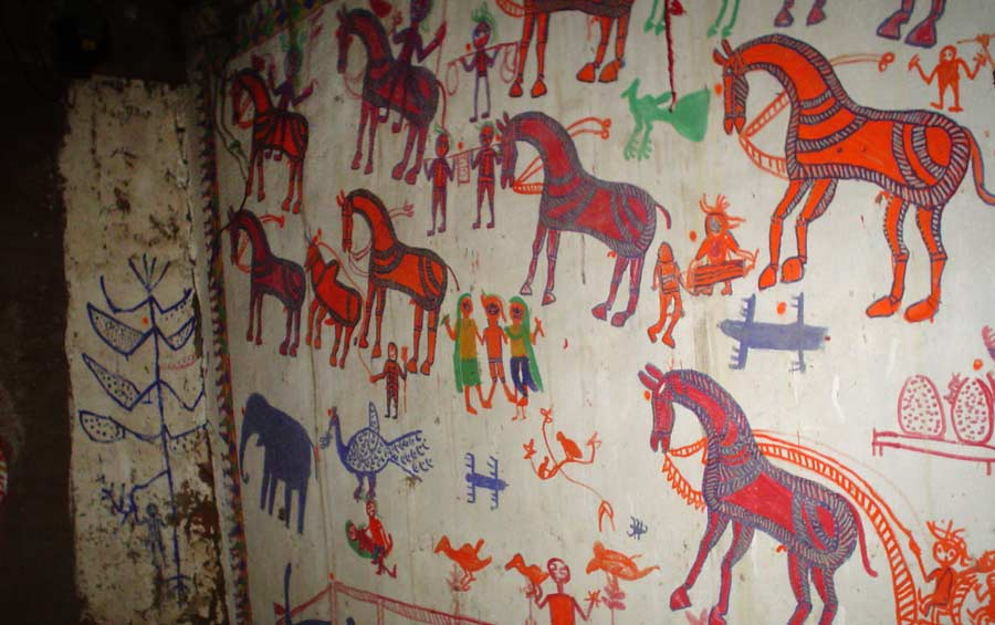 Pithora painting in tribal house